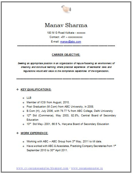 Standard Format Resume (Page 2) Career Pinterest - manual testing sample resumes
