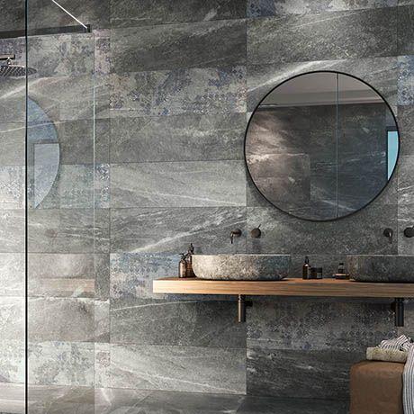 Novus Grey Stone Effect Wall Tiles - 300 X 900mm Wall And Floor Tiles, Wall  Tiles, Grey Bathroom Tiles