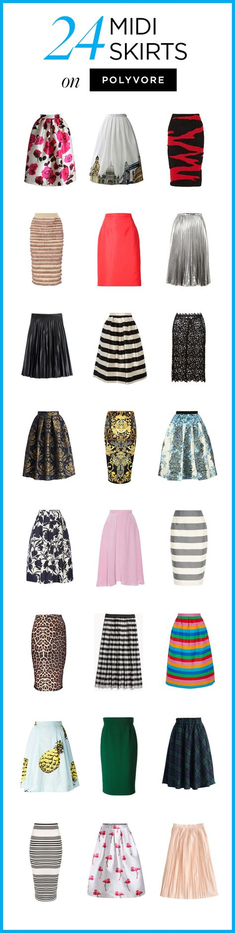 24 Midi Skirts on Polyvore! Shop all cute, mid-length skirt styles to find a look you love: http://polyv.re/MidiSkirts