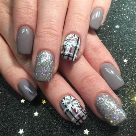 41 Ideas Nails Winter Gray Sparkle Plaid Nails Fabulous Nails Nails
