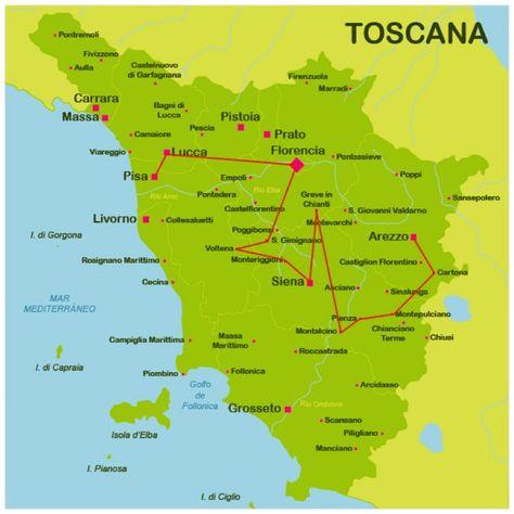 La Toscana Italia Mapa.Mapa La Toscana Toscana Toscana Viaje Y Toscana Italia