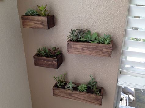 Set Of 4 Handcrafted Wooden Wall Planters 3 Sizes Succulents Herbs Plants Handmade