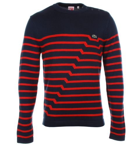 Lacoste L!ve Navy Ribbed Sweater with Red Stripes