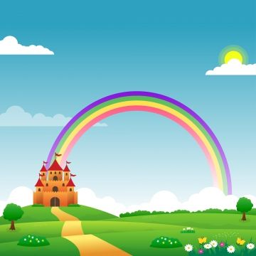 cute fantasy landscape background for kids with rainbow bright sky castle on the hill green meadow and flowers in 2020 fantasy landscape landscape background kids background cute fantasy landscape background for