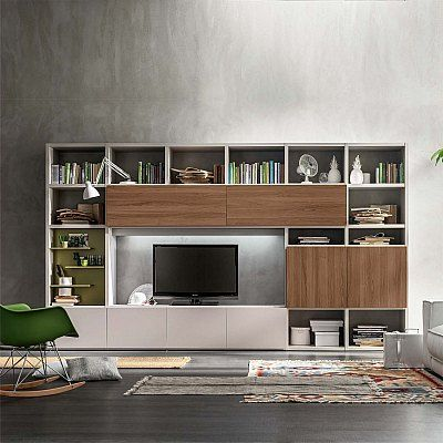 Modern Italian Free Standing Tv Unit With Shelves Or Library Italian Custom Made Living Room Modern Tv Stand Living Rooms Living Room Tv Living Room Tv Stand