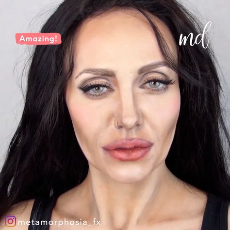 This Angelina Jolie makeup transformation got me speechless! By: @metamorphosia_fx #halloweenmakeup