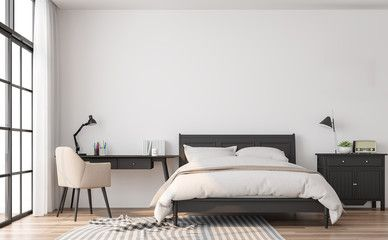 Modern Classic Bedroom 3d Render The Rooms Have Wooden Floors And White Walls Furnished With Black Modern Classic Bedroom Classic Bedroom Bedroom Wooden Floor