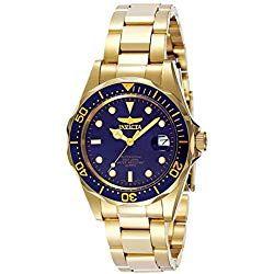 Consigue Tu Reloj Invicta Dorado Al Mejor Precio Del Mercado Calidad Y Garantía De Amazon No Te Preocupes Por El Do Gold Plated Watch Blue Watches Gold Watch