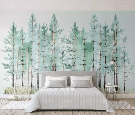 Modern Mint Green Tree Painting Forest Wallpaper Jungle Wall Decor Tropical Cafe Decor Natural Home