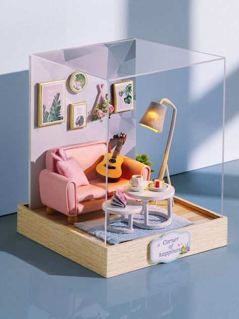 Miniature dollhouse Kit - LivingRoom. Modern Dollhouse, roombox kit,beachside tiny house. pastel chic 1:24 scale. DIY assemble, all-included