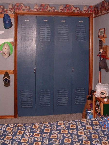 DIY Locker Closet Doors Used Flat Slab Bifold And Vent Covers Even Found Door Latches Numbers Online Go Vols