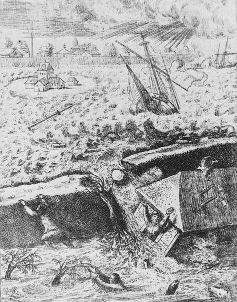 Deichbruch, Stich von Johann Martin Winterstein aus dem Jahr 1675