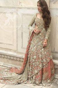 Pakistani Bridal Dress 2018 - Peach Back Trail Maxi Embroidered Lehenga