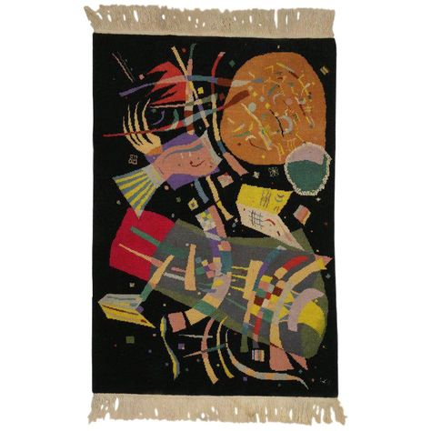 For Sale on - 77097 Contemporary Abstract Tapestry Inspired by Wassily Kandinsky's 'Composition X'. This unique rug is inspired by Kandinsky's (French, Russian Art Deco Rugs, Asian Rugs, Colorful Wall Art, Unique Rugs, Marker Art, Wassily Kandinsky, Art Deco Design, Psychedelic Art, Art Classroom