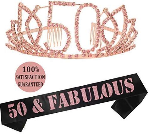 Birthday Gifts for Woman, Birthday Tiara and Sash Silver, Happy Birthday Party Supplies,It's My Birthday Satin Sash and Crystal Tiara Birthday Crown for Birthday Party Supply 50th Birthday Themes, 50th Birthday Gifts For Woman, 50th Birthday Party Decorations, Birthday Tiara, Happy 90th Birthday, Pink Party Decorations, 90th Birthday Parties, Birthday Woman, Happy 50th