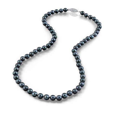 14K Yellow Gold 7.0-7.5mm Black Akoya Cultured Pearl Necklace 18 Inch Princess Length AAA Quality
