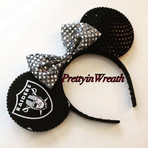 Oakland Raiders inspired Mickey Mouse ears headband
