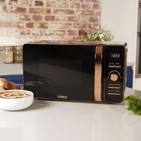 Tower 20l 800w Digital Black Rose Gold Microwave Hause