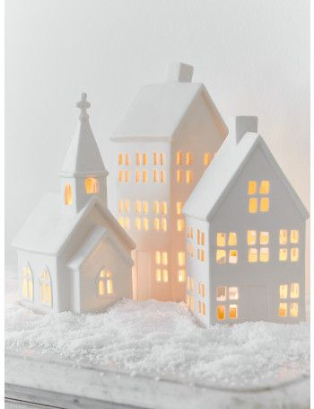 Porcelain Candle Houses - Set of Three