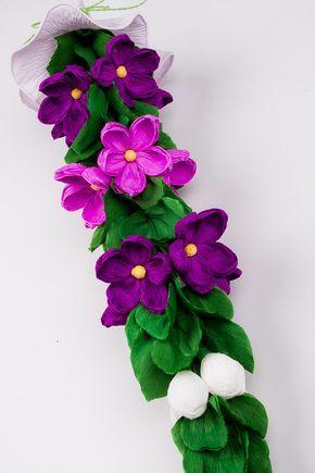 Palma Wielkanocna Z Bibuly Fioletowe Kaczence Paper Flowers Paper Crafts Crafts