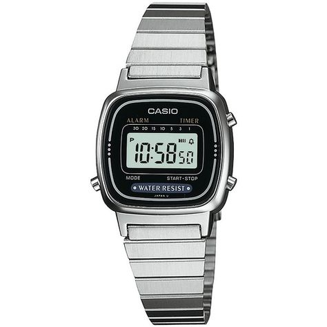Casio Women's Digital Watch - Silver - LA670WA-1 ($25) ❤ liked on Polyvore featuring jewelry, watches, women's accessories, digital alarm watch, silver jewelry, digital watch, square watches and silver digital watch