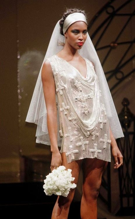 Atelier Versace 1997 Couture Wedding Dress Adorned With Mini Rhinestone In The Shape Of Crosses The Versace Wedding Dress Atelier Versace Couture Dresses