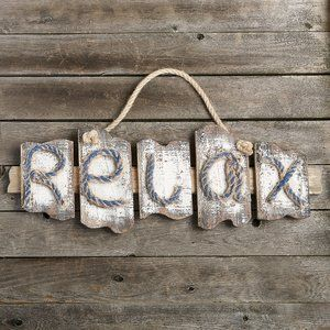 Relax Distressed Wall Du00e9cor Pillows Cor Home Beach Theme Wall Decor How To Distress Wood Wall Plaques