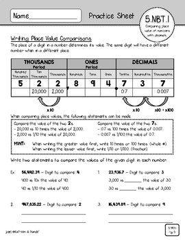 5 Nbt 1 Practice Sheets Understanding Place Value Practice Sheet Place Values Math Lessons