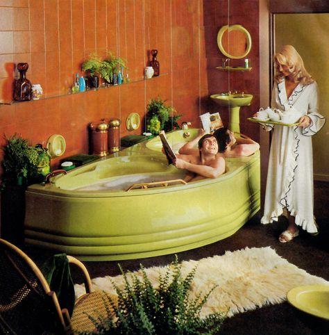 decor Twyfords can turn your bathroom into a living room. 80s Interior Design, Mid-century Interior, 1970s Decor, 70s Home Decor, Design Lounge, Futuristic Interior, Retro Bathrooms, Living Vintage, Retro Room