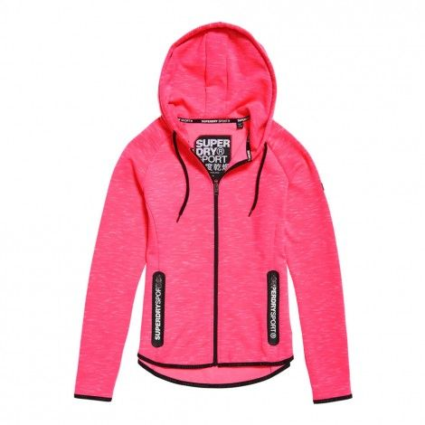5bf99579485 Superdry Sport Gym Tech Luxe Zip Hoodie vest dames coral
