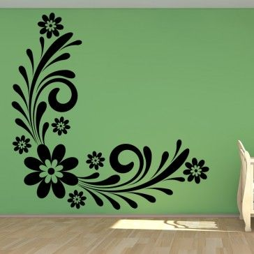 Floral wall art brilliant daisy corner floral flowers wall art sticker wall decal floral design decoration