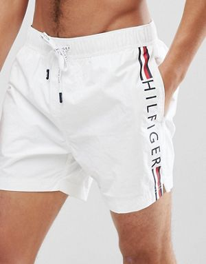 416d79ff Tommy Hilfiger Short Drawstring Side Stripe Logo Swim Shorts in White