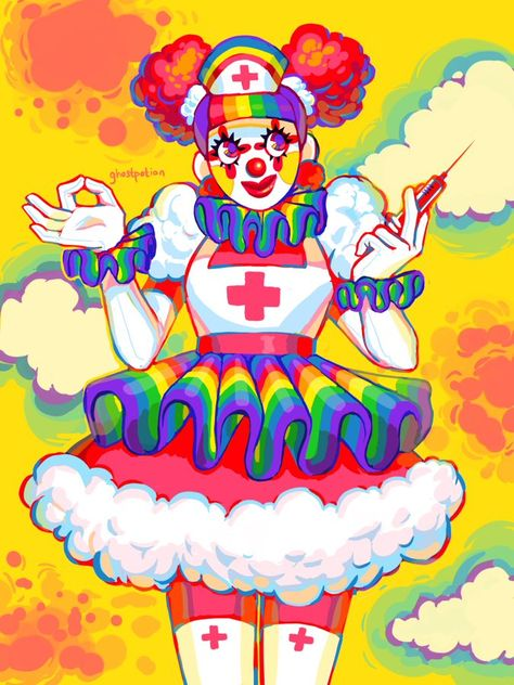 You are veryactive and hate when people get critisized over gender,sexual orientation,slurs,etc. You are probably the best person to hang out with~! Cute Clown, Creepy Cute, Pretty Art, Cute Art, Audrey Kawasaki, Mark Ryden, Aesthetic Art, Rainbow Aesthetic, Character Design Inspiration