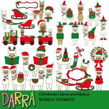 Clipart Bundle Featuring Christmas Llamas And Alpacas Cute Clip Art By Darrakadisha Llama A Christmas Party Inspiration Spiderman Birthday Birthday Cards Diy