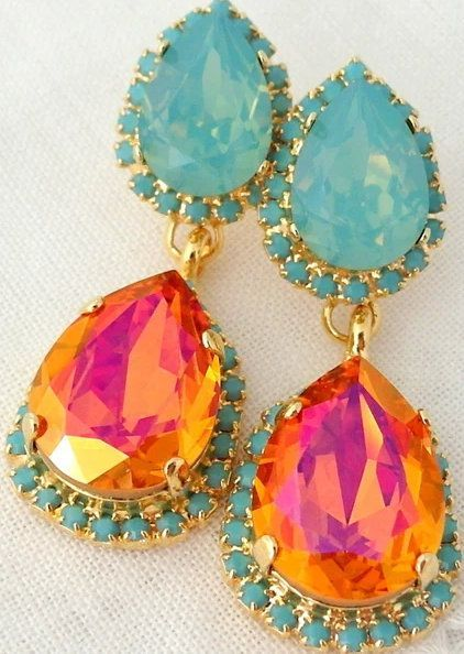 Pink orange Pacific opal and turquoise halo Crystal Chandelier earrings (ad)