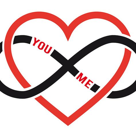 never ending love, red heart with infinity sign