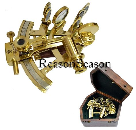 Brass Metal German Nautical Sextant Maritime Astrolabe Marine Ships With Box,
