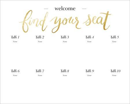 White Seating Chart 16 X 20 Horizontal Posters Elegant White 16