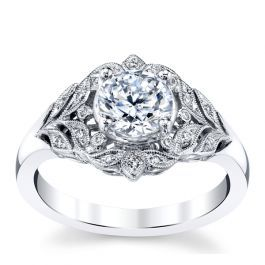 f674bbf962463 RB Signature 14K White Gold Diamond Engagement Ring Setting .08 cttw ...