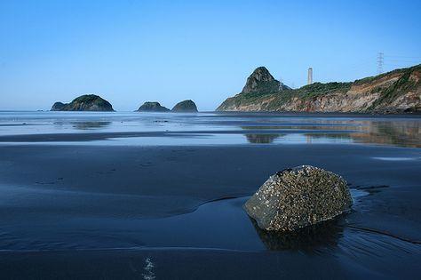 Back Beach, black sand beach, New Plymouth, NZ