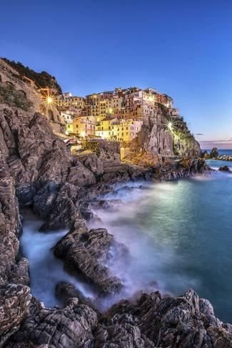 Photographic Print: Manarola Village Illuminated by the Blue Light of Dusk with its Typical Pastel Colored Houses by ClickAlps : 24x16in