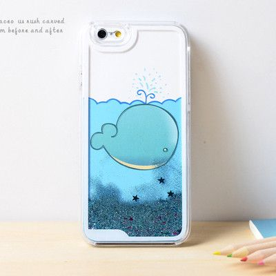 newest 85c35 97bad Whales Dynamic Liquid Blue Glitter Sand Quicksand Bling Clear iPhone ...