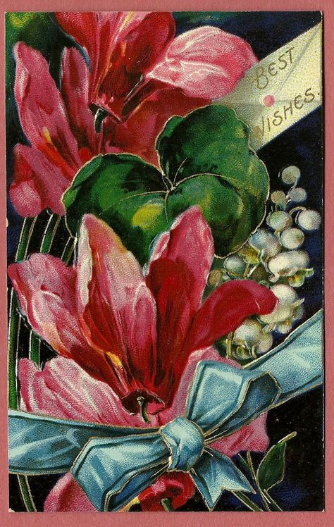 Embossed Floral Postcard Best Wishes From Germany Like The Bow