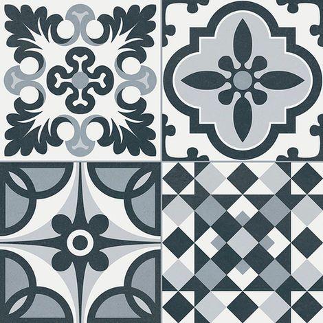Carrelage Style Ancien Ciment Heritage Black 33x33 Cm 1 32m En 2020 Carrelage Salle De Bain Carreaux De Sol Carrelage Blanc