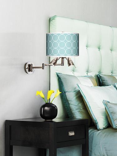 Aqua and chocolate brown contemporary bedroom.