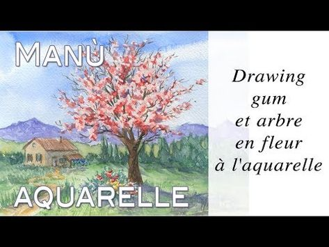 Drawing Gum Et Arbre En Fleur A L Aquarelle Aquazine 4 Youtube