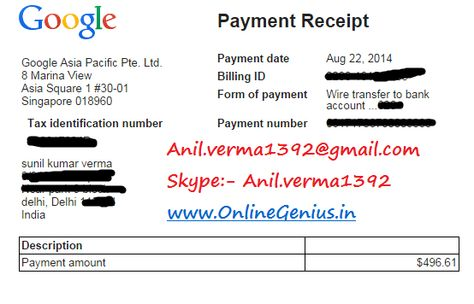 adsense earning proof august 2014 made 2000 USD onlinegeniusin - proof of payment receipt