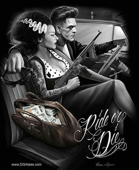 My Queen always on some Slaughter Gang Shih 💯💯💯 Cholo Art, Chicano Art, Arte Horror, Horror Art, Pinup, Estilo Cholo, David Gonzalez, Aztecas Art, Arte Punk
