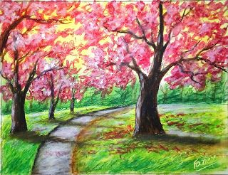 Cherry Blossom Tree Painting With Oil Pastel Cherry Blossom Tree Painting Easy Drawing Art Video Oil Pastel Landscape Tree Painting Easy Tree Painting