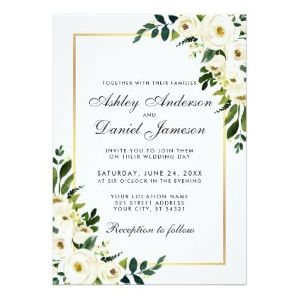 Watercolor Floral Green White Gold Wedding Invitation Zazzle Com
